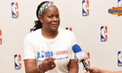 """""""Believe in yourself, work hard and have fun"""", WNBA legend Sheryl Swoopes' message to aspiring Jr. NBA campers"""